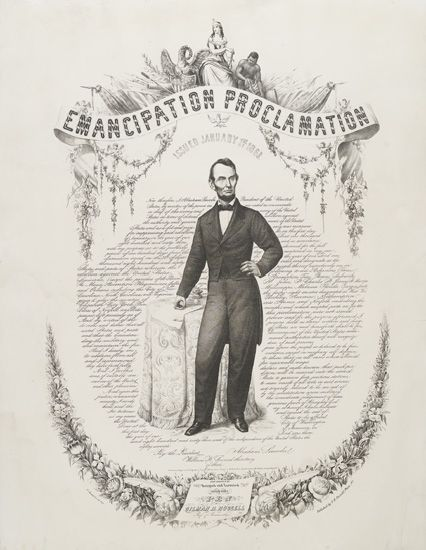 """(SLAVERY AND ABOLITION.) LINCOLN, ABRAHAM. The Emancipation Proclamation—""""The Original Entirely Designed and Executed with a Pen by Gil"""
