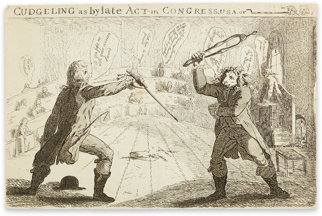 (CONGRESS.) Eldwood, C.P.; engraver. Cudgeling as by Late Act in Congress, U.S.A.