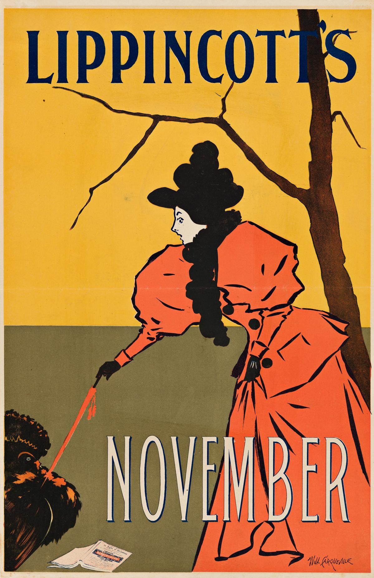 WILL CARQUEVILLE (1871-1946).  LIPPINCOTTS NOVEMBER. 1895. 18x12 inches, 47x31 cm.