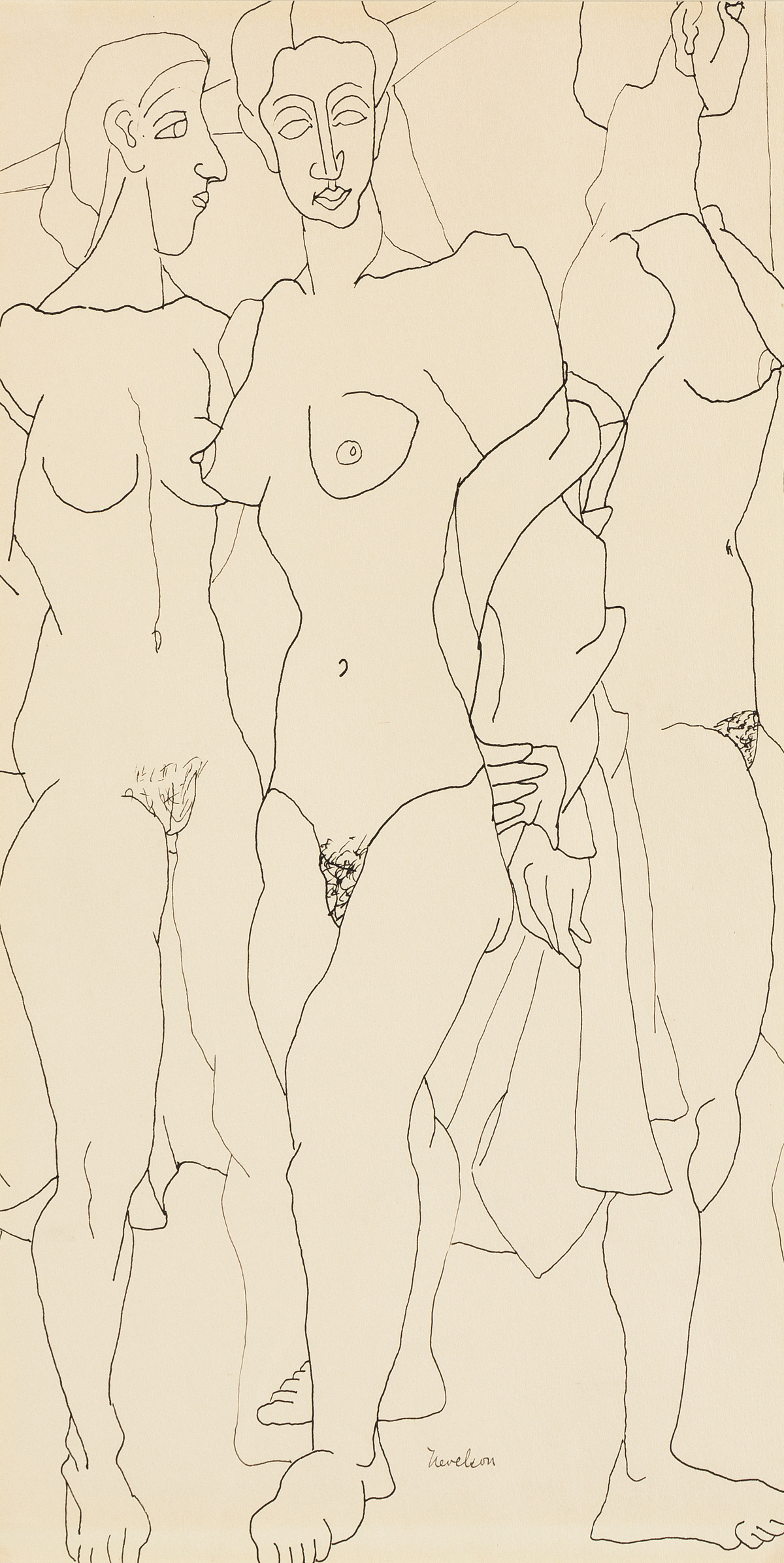 LOUISE NEVELSON Three Standing Nudes.