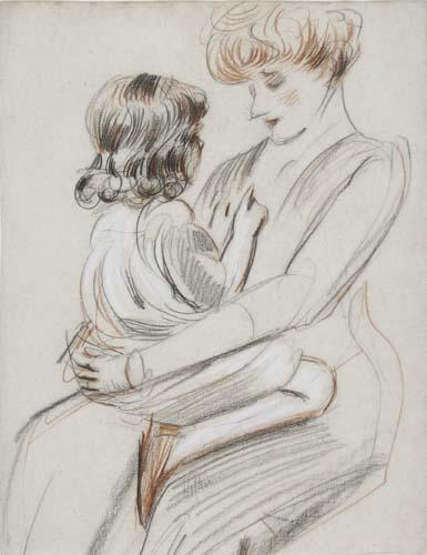 PAUL CÉSAR HELLEU Une mère tenant son enfant sur ses genoux.