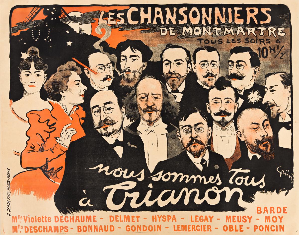 JULES-ALEXANDRE GRÜN (1868-1938).  LES CHANSONNIERS DE MONTMARTRE / TRIANON. 1897. 43x55 inches, 110x139 cm. G. Gerin, Fils, Paris.