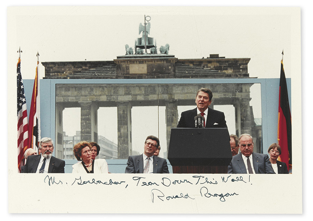 """REAGAN, RONALD. Color Photograph Signed and Inscribed, """"Mr. Gorbachev, Tear Down This Wall!"""","""