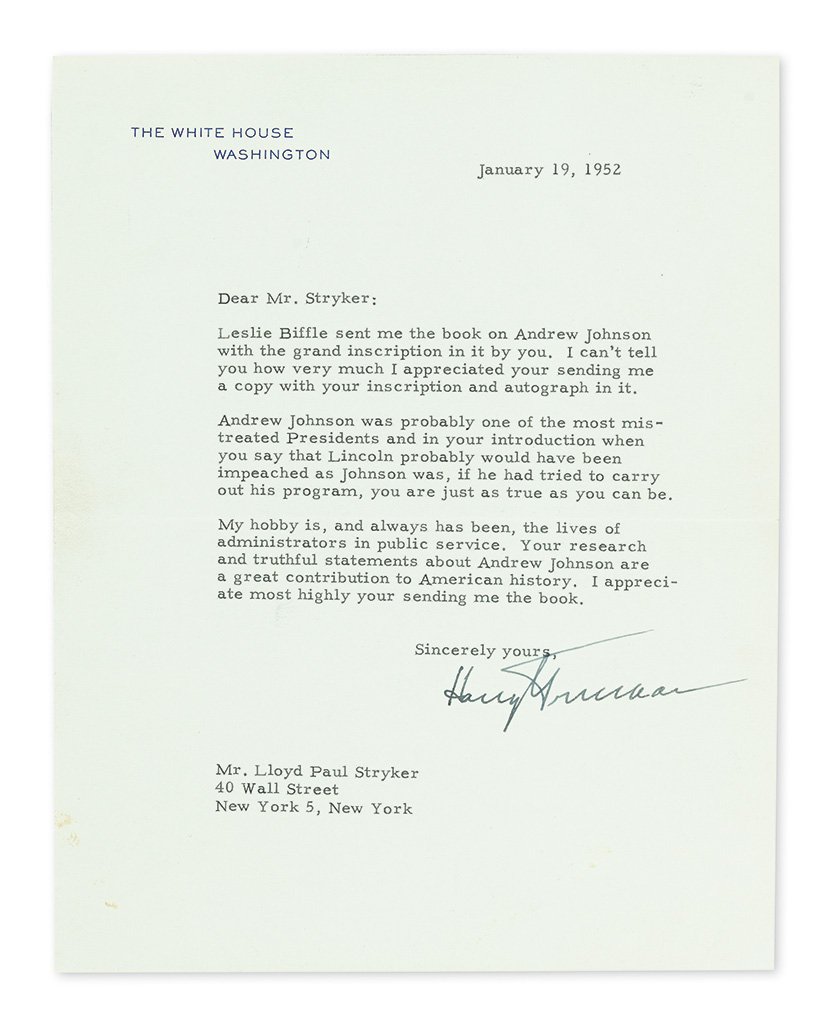 TRUMAN, HARRY S. Typed Letter Signed, as President, to author Lloyd Paul Stryker,