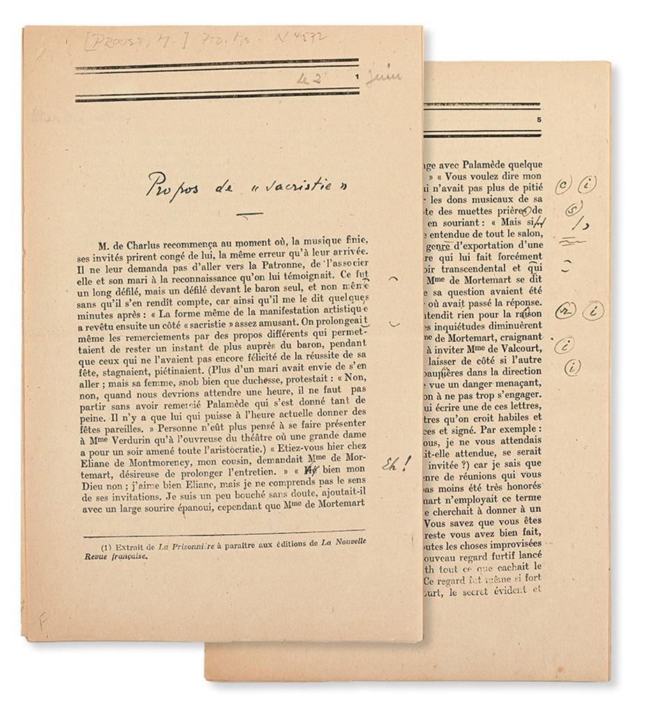 """(PROUST, MARCEL.) RIVIÉRE, JACQUES. Printed proofs of an excerpt of Prousts """"La Prisonnière"""" from À la recherche du temps perdu, in Fr"""