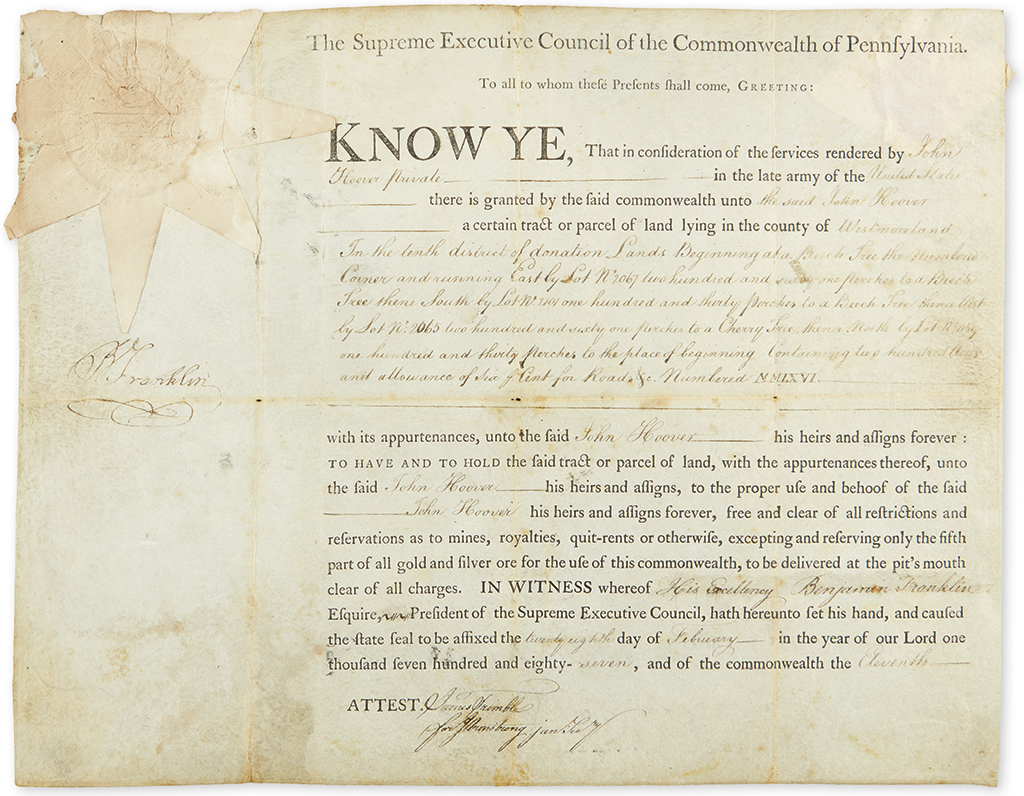 FRANKLIN, BENJAMIN. Partly-printed vellum Document Signed, BFranklin, as President of the Supreme Executive Council,