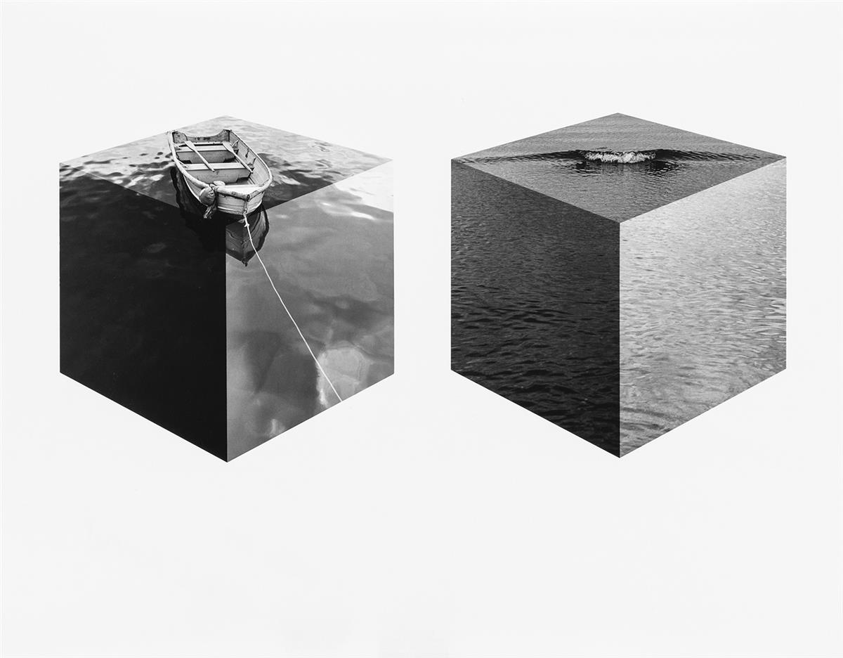 JERRY-UELSMANN-(1934--)-Untitled-(boat-and-wave-cubes)