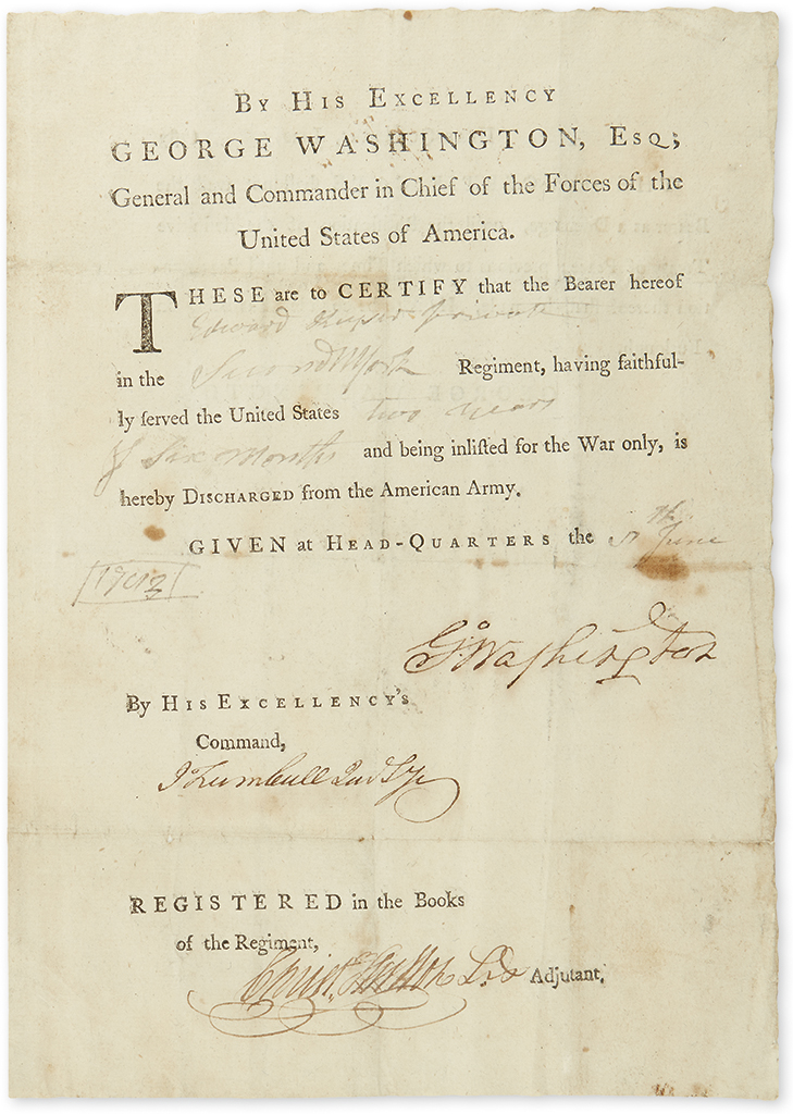 (AMERICAN REVOLUTION.) WASHINGTON, GEORGE. Partly-printed Document Signed, G:Washington, as Commander-in-Chief,