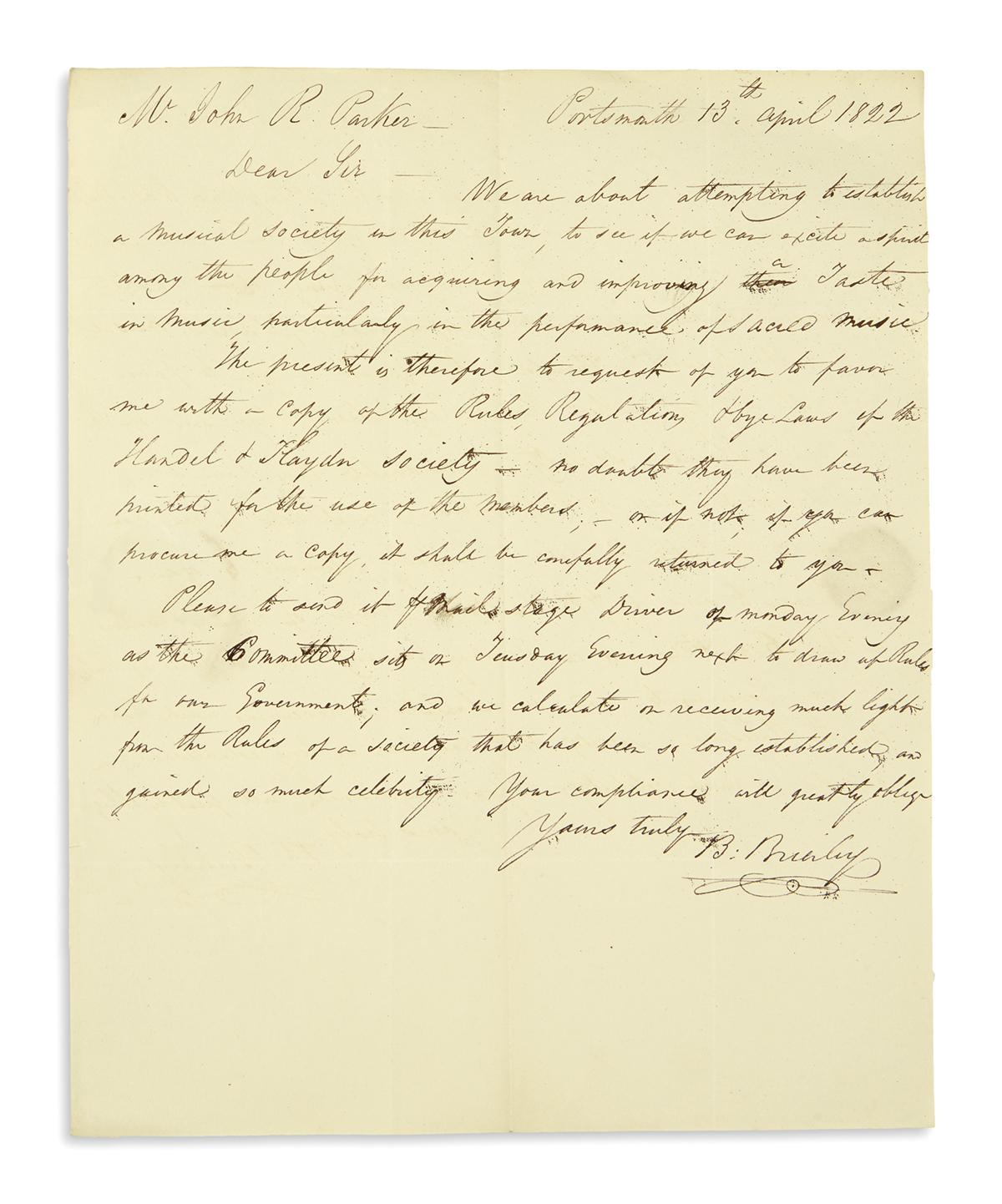 (MASSACHUSETTS.) Papers of music dealer and merchant John Rowe Parker.