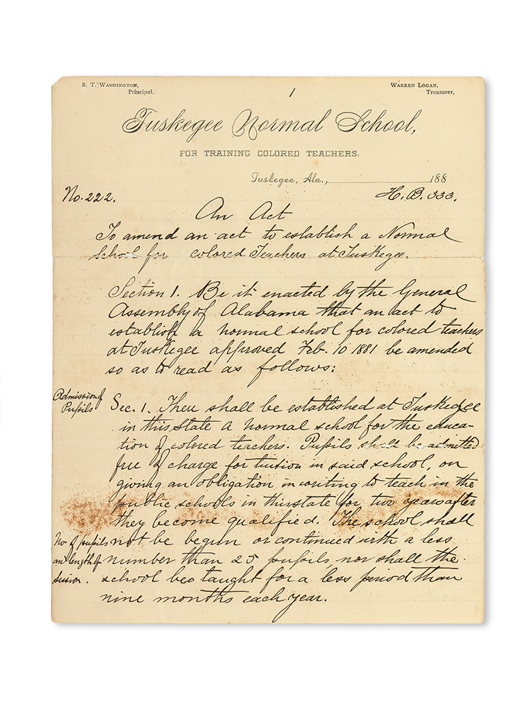 (EDUCATION--WASHINGTON, BOOKER T.) An Act to Amend an Act to Establish a Normal School for Colored Teachers at Tuskegee.