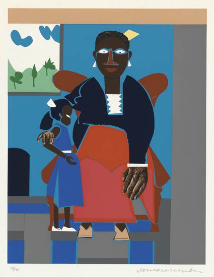 ROMARE-BEARDEN-(1911---1988)-Family-(Mother-and-Child)