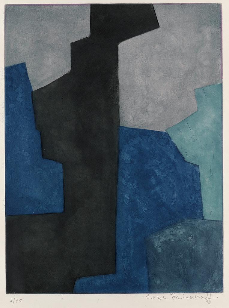 SERGE POLIAKOFF Composition Noire, Bleu et Mauve.