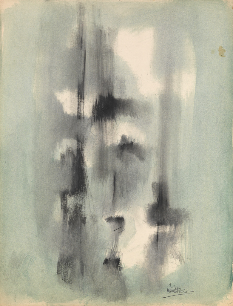 NORMAN LEWIS (1909 - 1979) Untitled (Vertical Organic Abstraction).