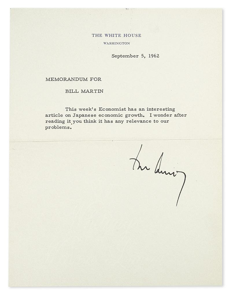 KENNEDY, JOHN F. Typed Note Signed, John Kennedy, as President, to Federal Reserve Chairman William McChesney Martin (Memorandum For