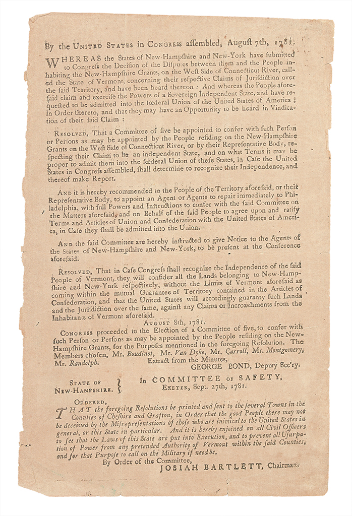 (VERMONT.) New Hampshire printing of a Congressional act concerning Vermont statehood.