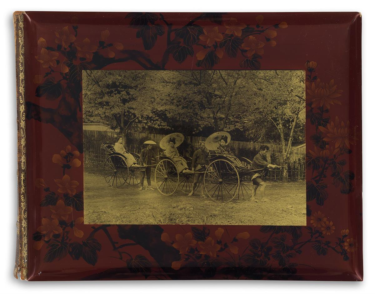 (JAPAN)-Red-lacquer-album-with-50-hand-colored-photographs-o