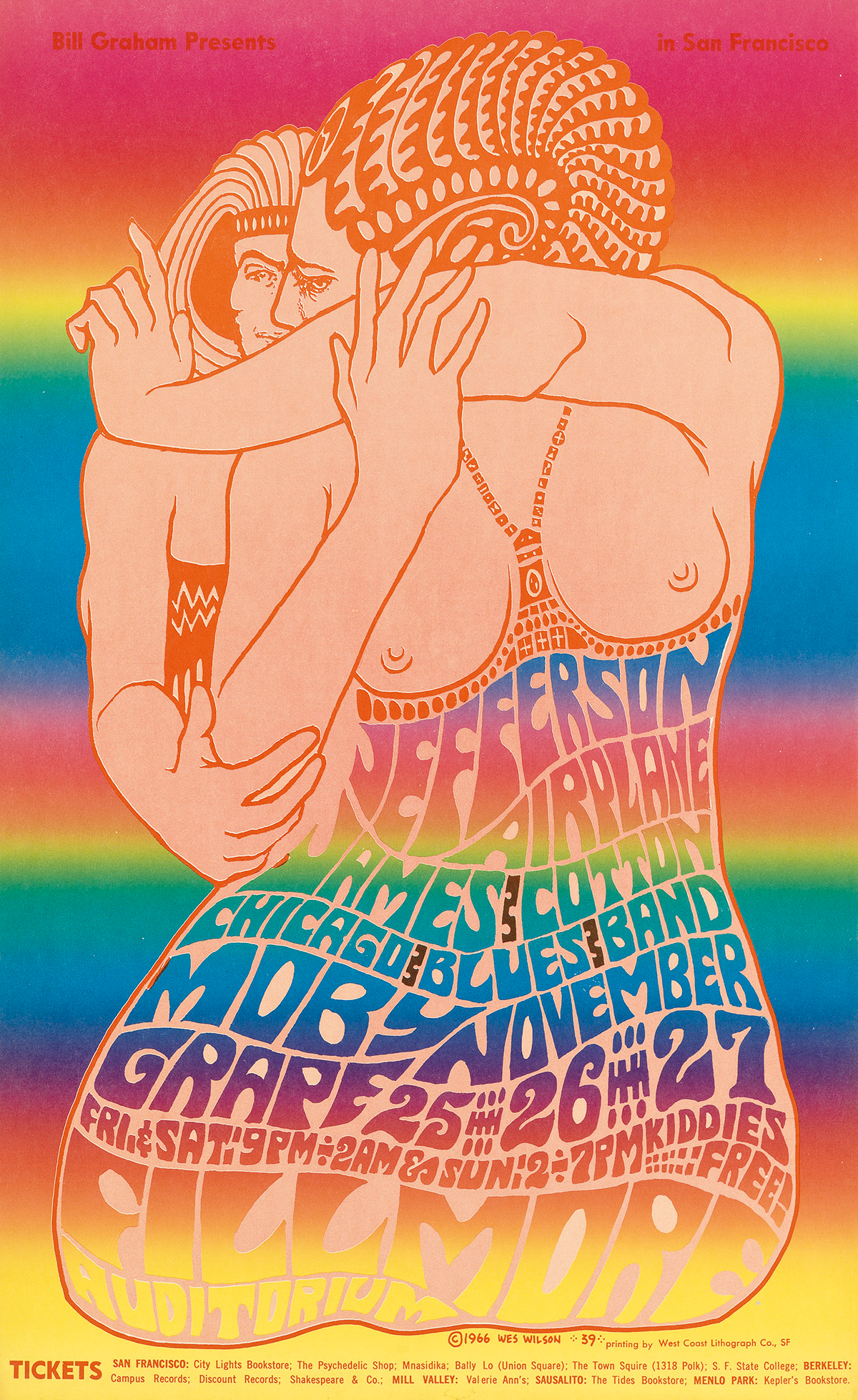 WES WILSON (1937- ). [PSYCHEDELIC ROCK CONCERTS.] Group of 15 posters. 1966-1967. Sizes vary.