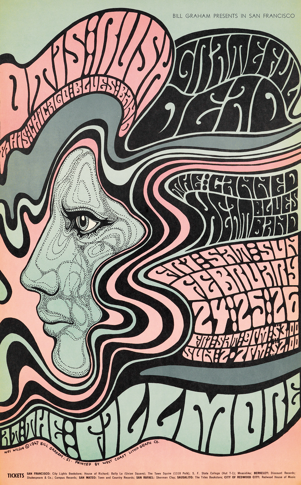 VARIOUS ARTISTS. [PSYCHEDELIC ROCK CONCERTS.] Group of 12 posters. 1967-1968. Sizes vary.