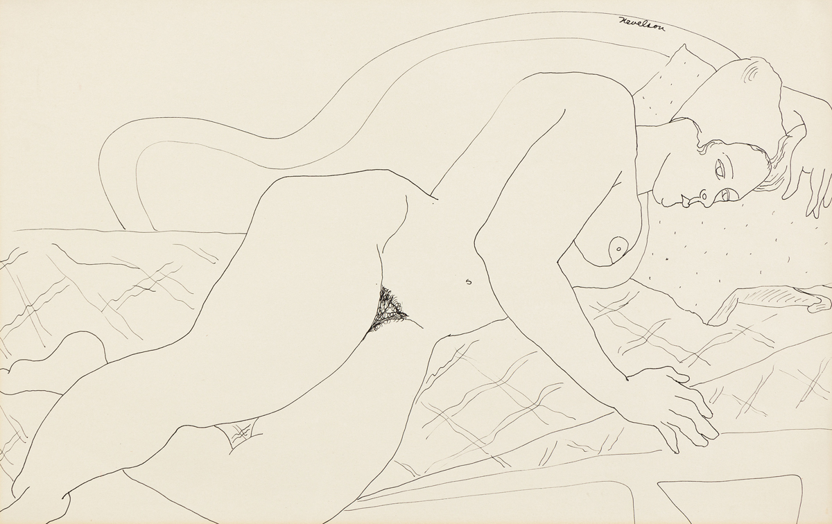 LOUISE NEVELSON Reclining Nude.