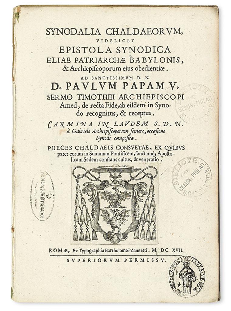 CHALDEAN SYNOD.  Synodalia Chaldaeorum.  1617