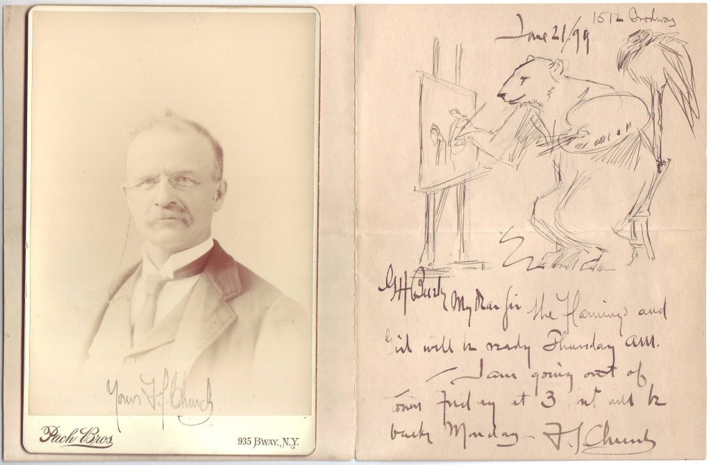 """CHURCH, FREDERICK STUART. Two items, each Signed """"F.S. Church"""": Illustrated brief Autograph Letter * Photograph Inscribed, """"Yours."""""""