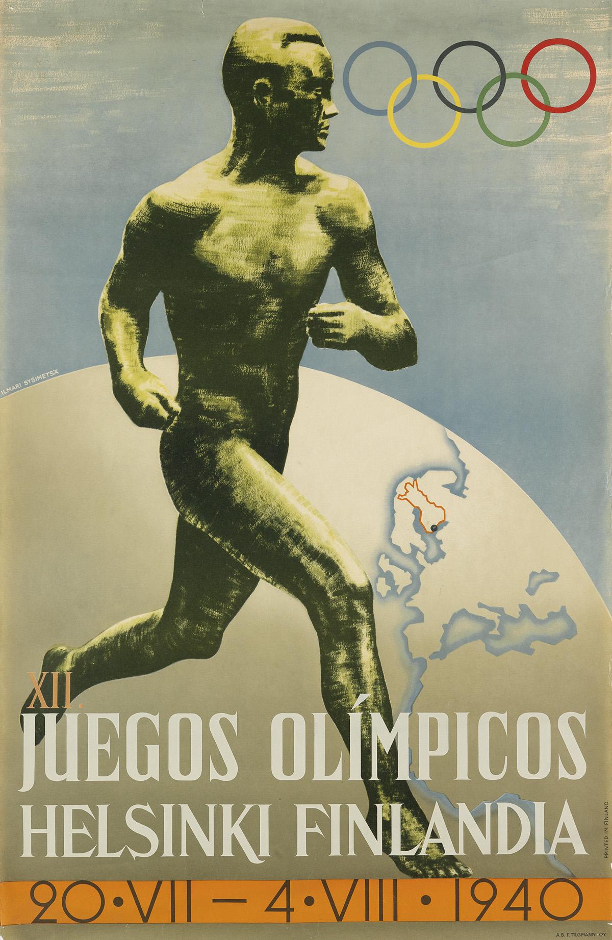 ILMARI SYSIMETSÃ (1912-1955). XII. JUEGOS OLÍMPICOS / HELSINKI FINLANDIA. 1940. 38x25 inches, 97x63 cm. Oy. Tilgmann AB, [Helsinki.]