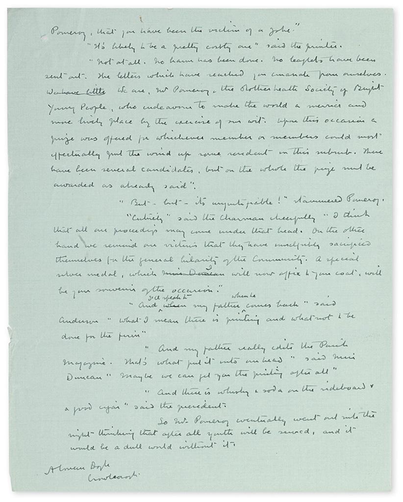 DOYLE, ARTHUR CONAN. Autograph Manuscript Signed, A Conan Doyle, with a few scattered holograph corrections, his short story The Par