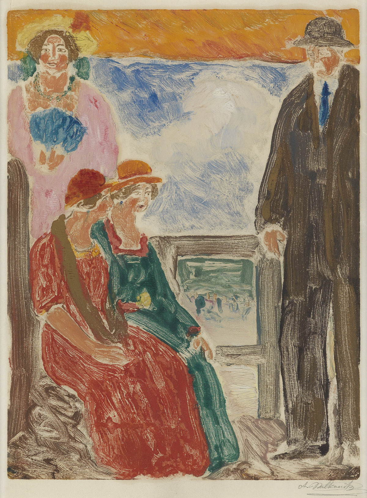 ABRAHAM-WALKOWITZ-Three-Women-and-a-Man-by-the-Ocean