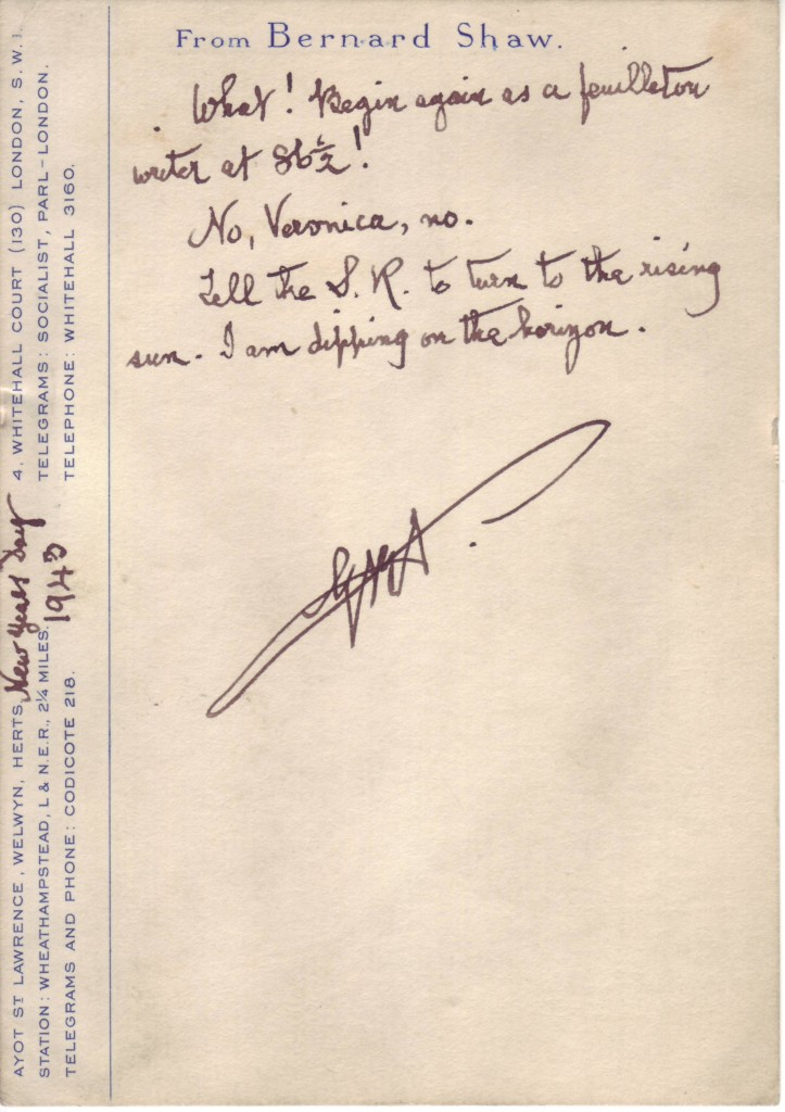 SHAW-GEORGE-BERNARD-Autograph-Note-Signed-GBS-to-Veronica-Je