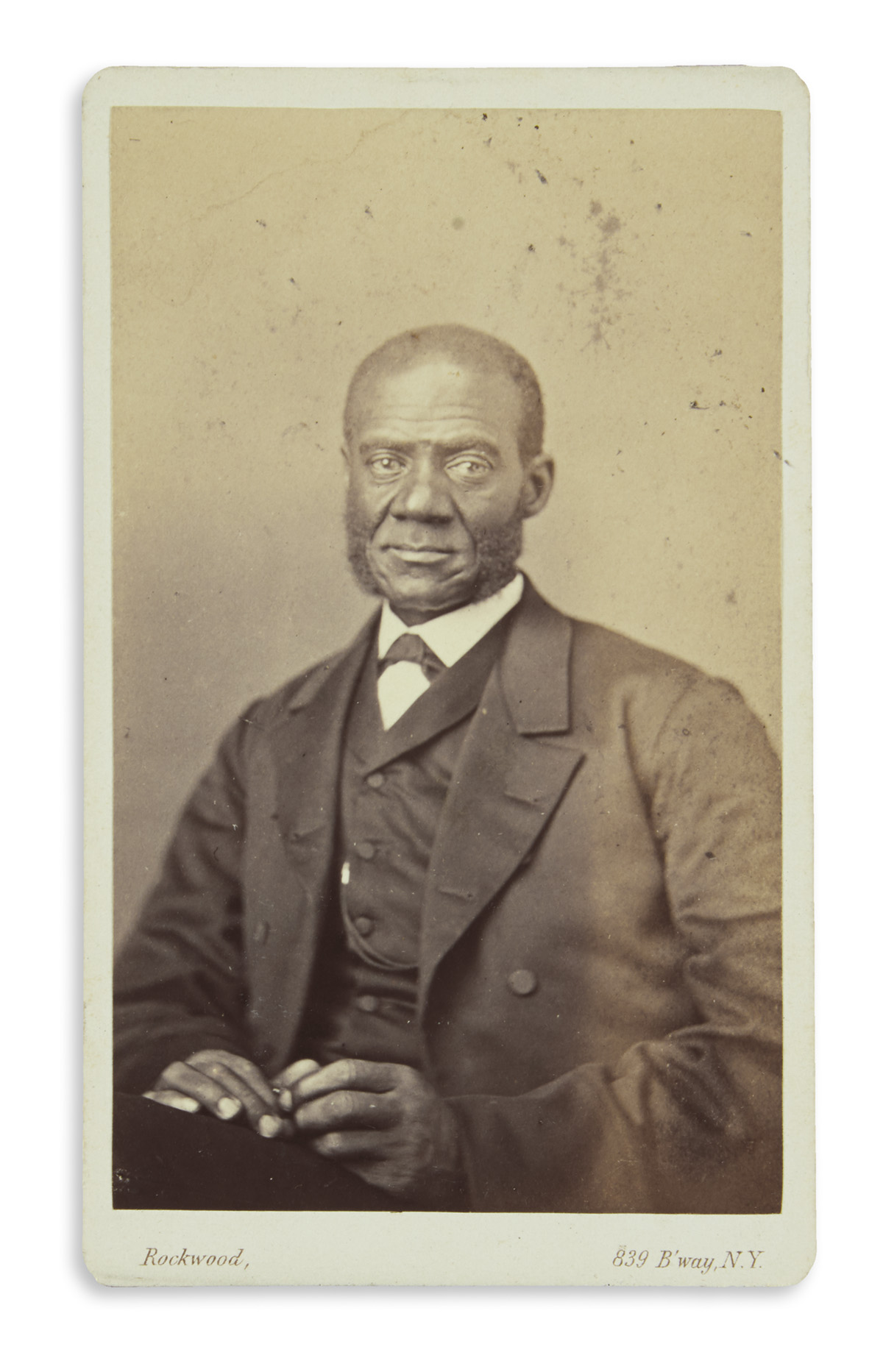 (SLAVERY AND ABOLITION.) Rockwood, George; photographer. Carte-de-visite portrait of the Rev. Henry Highland Garnet.