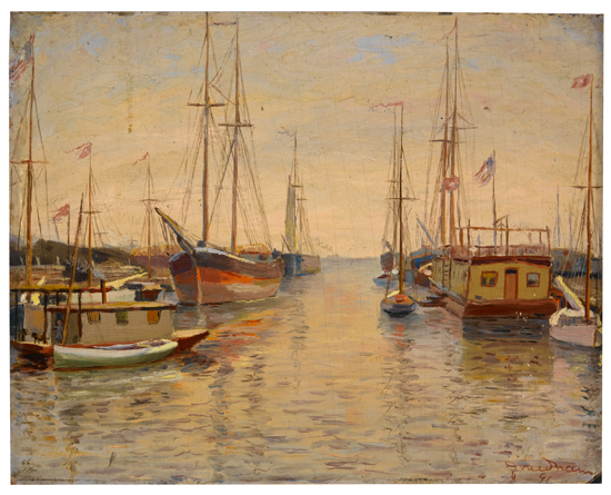 JAMES-BOLIVAR-NEEDHAM--(1850---1931)-A-Morning-with-the-Yach