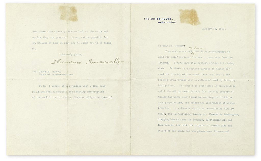 ROOSEVELT, THEODORE. Typed Letter Signed, as President, with two holograph corrections,
