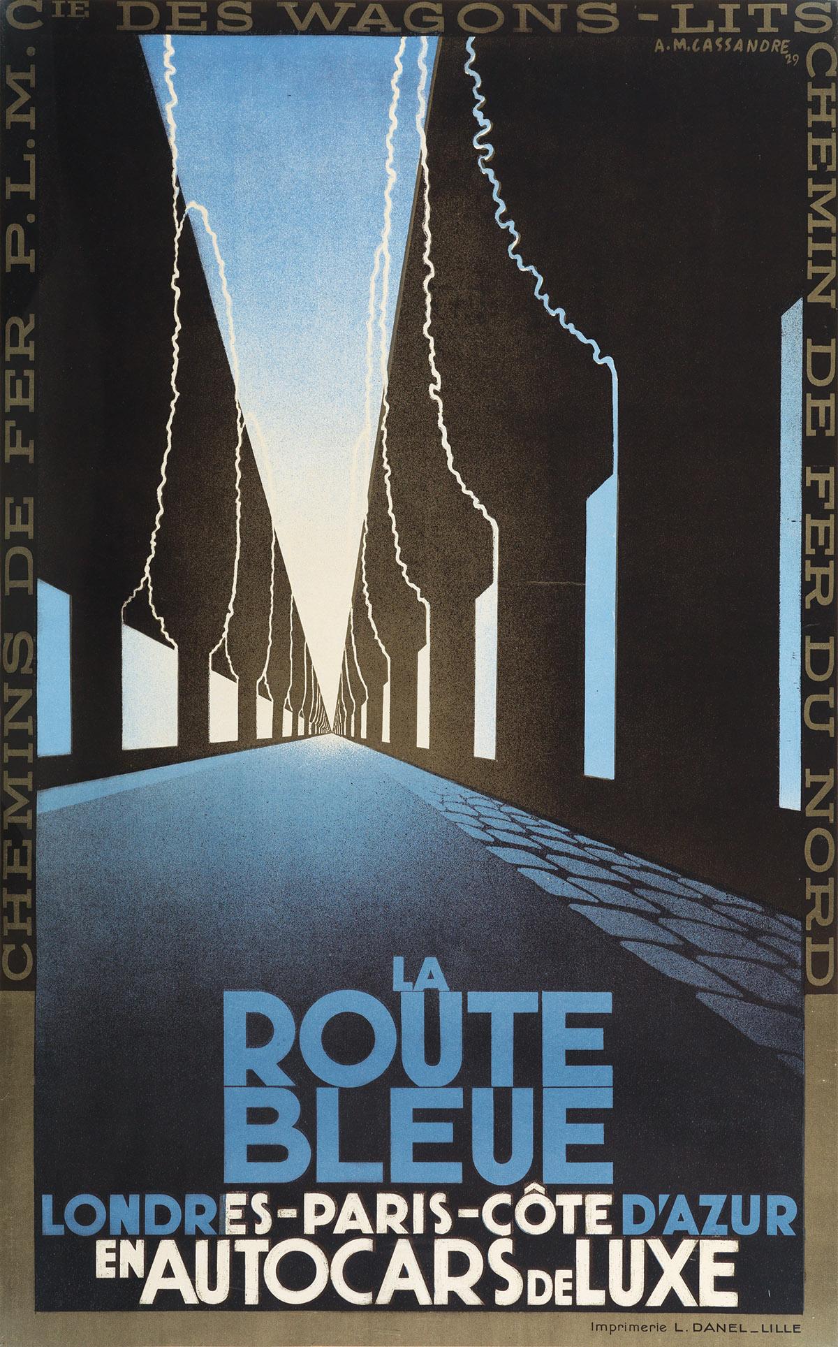 ADOLPHE MOURON CASSANDRE (1901-1968). LA ROUTE BLEUE. 1929. 39x24 inches, 99x61 cm. L. Danel, Lille.