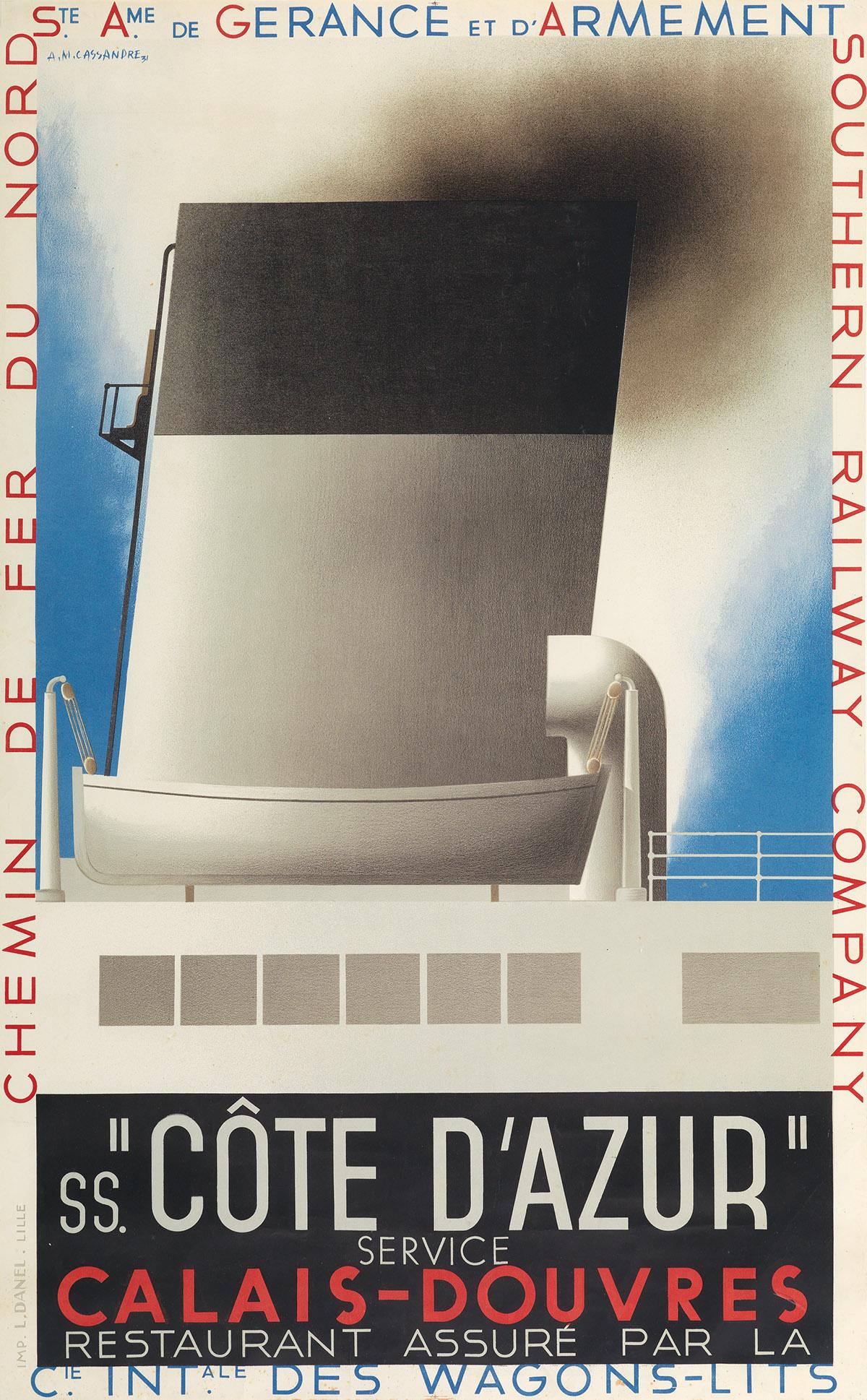 ADOLPHE MOURON CASSANDRE (1901-1968). SS. CÔTE DAZUR. 1931. 39x24 inches, 99x62 cm. L. Danel, Lille.
