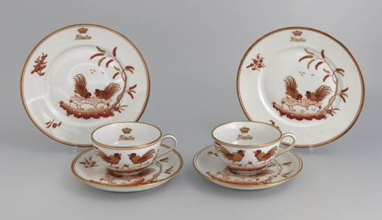 (ITALIAN LINE.) Rex. Group of 6 First Class china pieces in the Cockerel pattern,