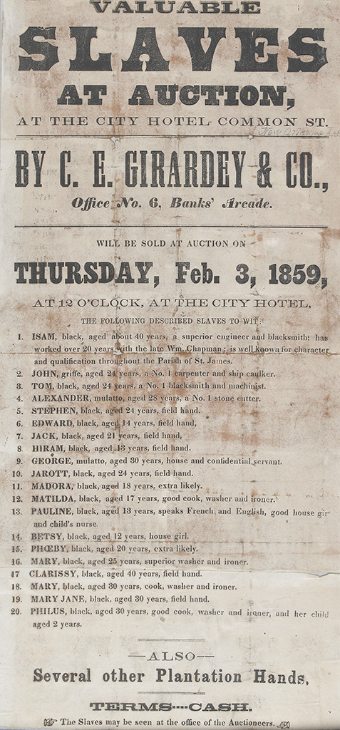 (SLAVERY AND ABOLITION.) C.E. GIRARDEY & CO. SLAVE DEALERS. Valuable Slaves at Auction. . .Will be Sold at Auction.. . .