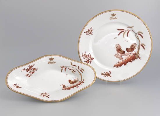 (ITALIAN LINE.) Rex. Two First Class service pieces in the Cockerel pattern,