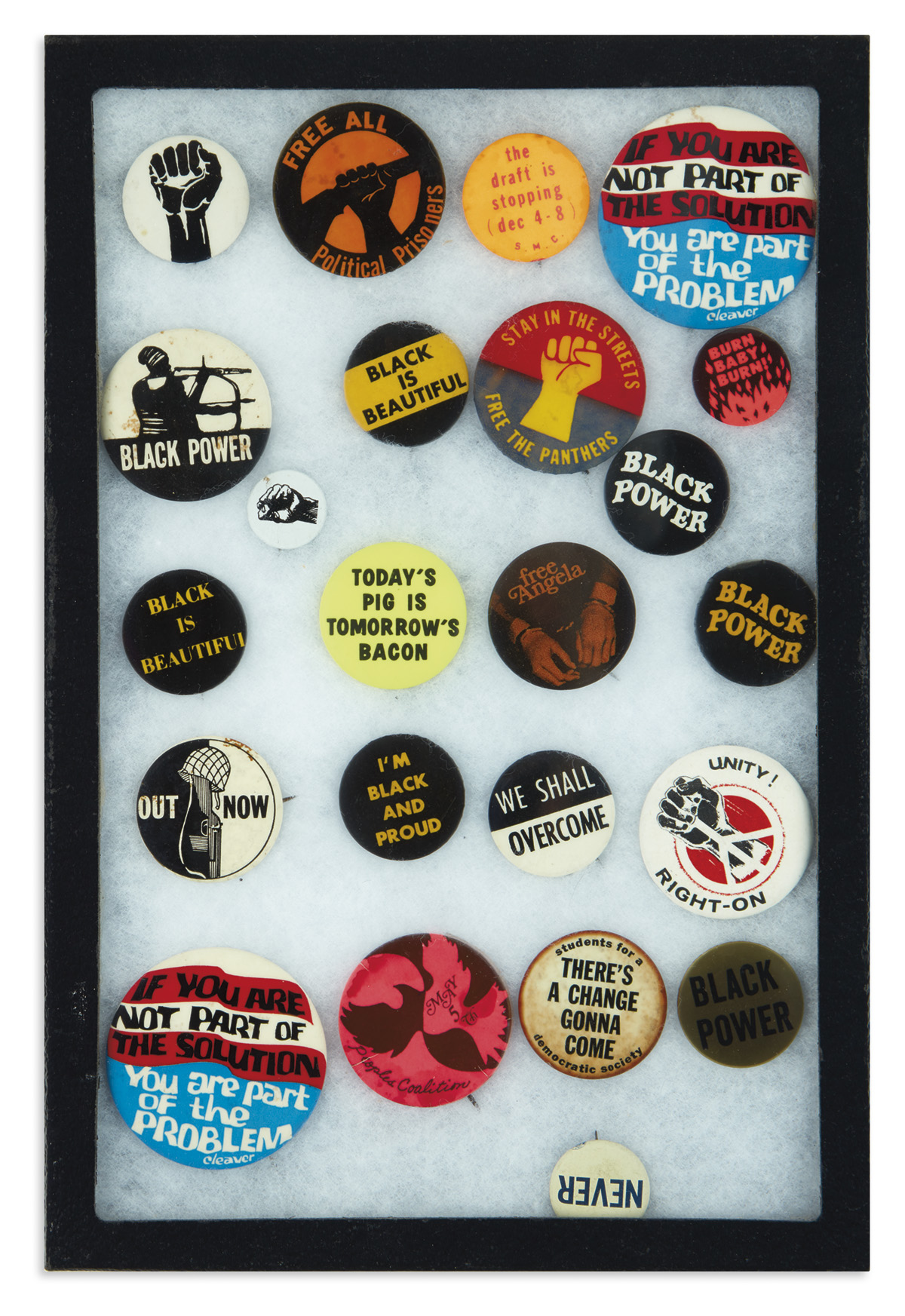 (BLACK PANTHERS.) Collection of Black Panther, Black Power, and other related buttons.