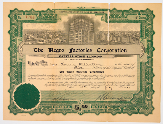 GARVEY, MARCUS. The Negro Factories Corporation, Capital Stock, $1,000,000. Five Shares in the name of Fannie Valentine.