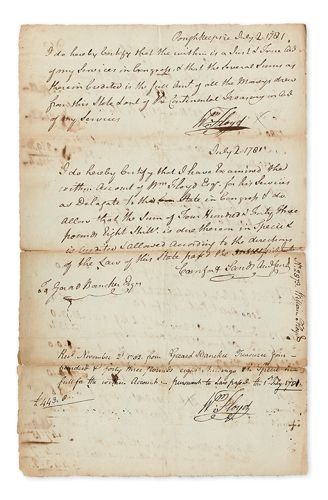 (AMERICAN REVOLUTION.) FLOYD, WILLIAM. Document Signed, Wm: Floyd twice, an account of his services to NY State as Senator and delega