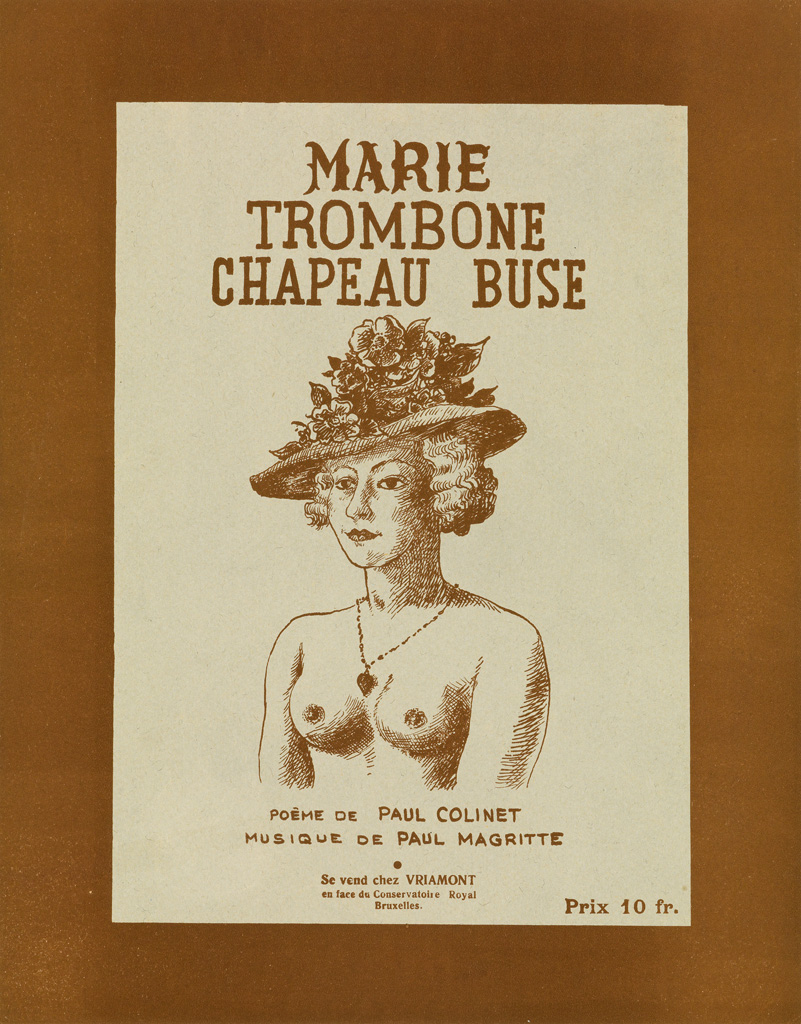 RENÉ MAGRITTE (1898-1967). MARIE TROMBONE CHAPEAU BUSE. Sheet music cover. 1936. 13x10 inches, 35x26 cm. [Editions Magritte, Brussels.]