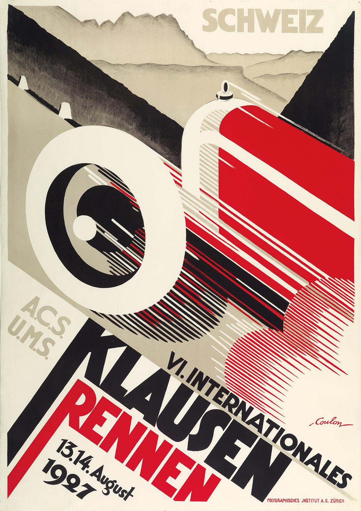 ERIC DE COULON (1888-1956). VI. INTERNATIONALES KLAUSEN RENNEN. 1927. 50x35 inches, 127x89 cm. Polygraphisches Institut, Zurich.