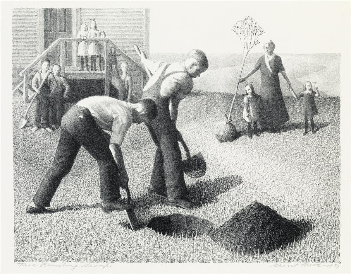 GRANT WOOD (1891-1942) Tree Planting Group.