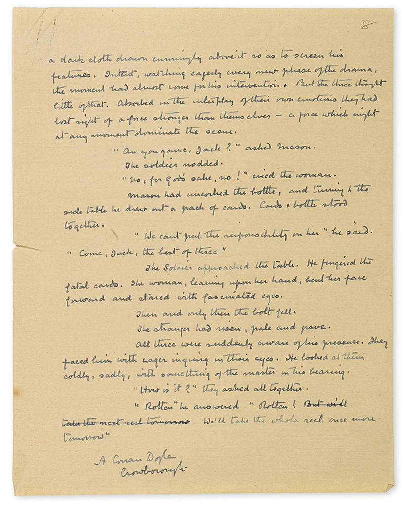 DOYLE, ARTHUR CONAN. Autograph Manuscript Signed, A Conan Doyle, with a few scattered holograph corrections, his short story The Nig
