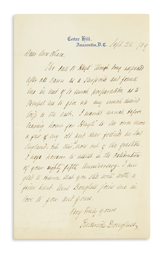 DOUGLASS, FREDERICK. Autograph Letter Signed, to abolitionist Elizabeth Buffum Chace (Dear Mrs. Chace),
