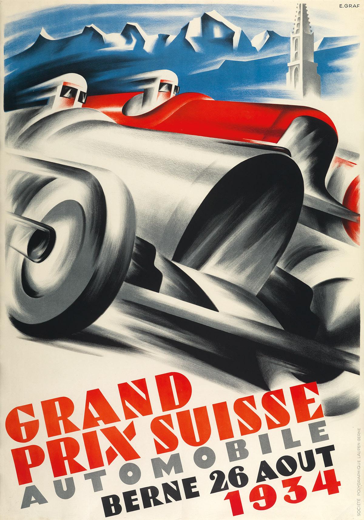 KASPAR ERNST GRAF (1909-1988). GRAND PRIX SUISSE / AUTOMOBILE. 1934. 50x35 inches, 127x89 cm. Société Polygraphique Laupen, Bern.