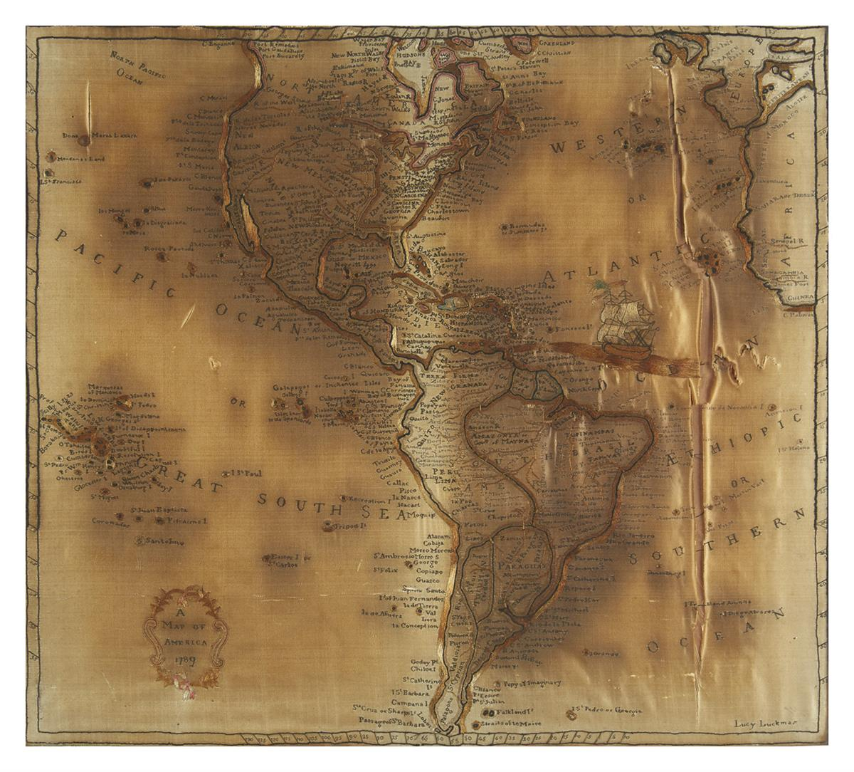 (CURIOSITY MAP). Luckman, Lucy. A Map of America 1789.