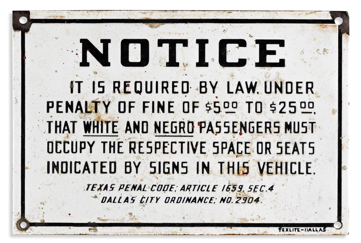 (CIVIL RIGHTS--SEGREGATION.) Dallas bus segregation sign.