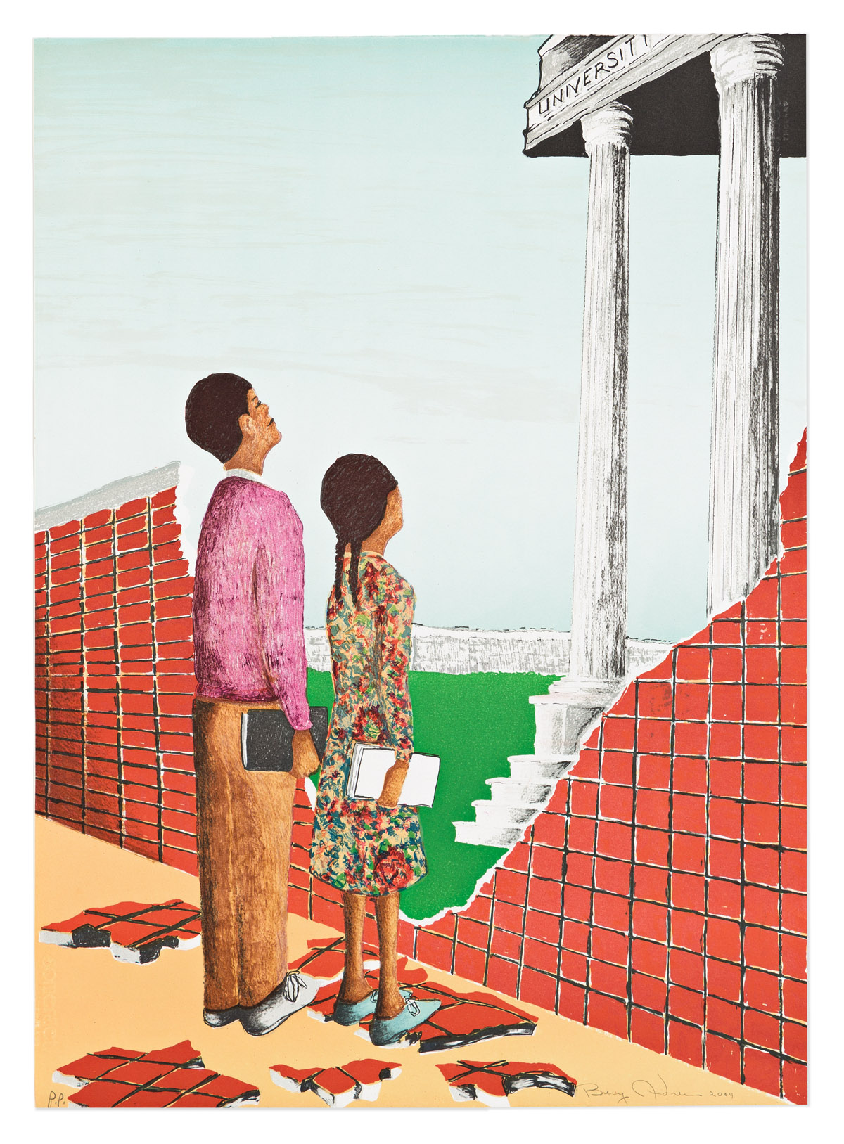 BENNY ANDREWS (1930 - 2006) Untitled (Brown vs. Board of Education).