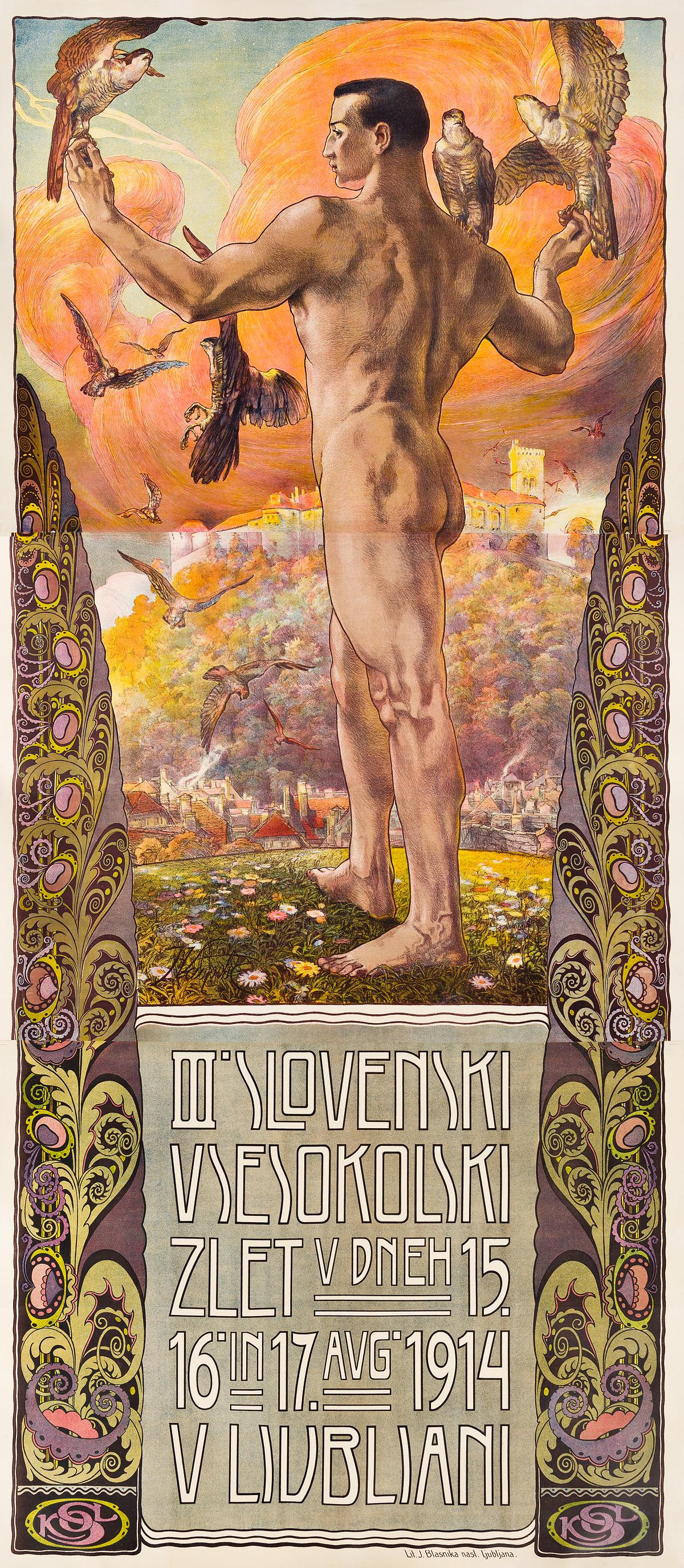 IVAN VAVPOTIC (1877-1943).  III. SLOVENSKI VSESOKOLSKI ZLET / V LJUBLJANI. 1914. 107x47 inches, 273x120 cm. J. Blasnika, Ljubljana.